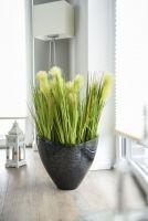 Blumentopf-schwarz-silber-Fiberglas-Agua