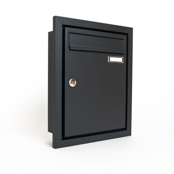 Briefkasten unterputz Design Rahmen RAL 7016 feinstruktur